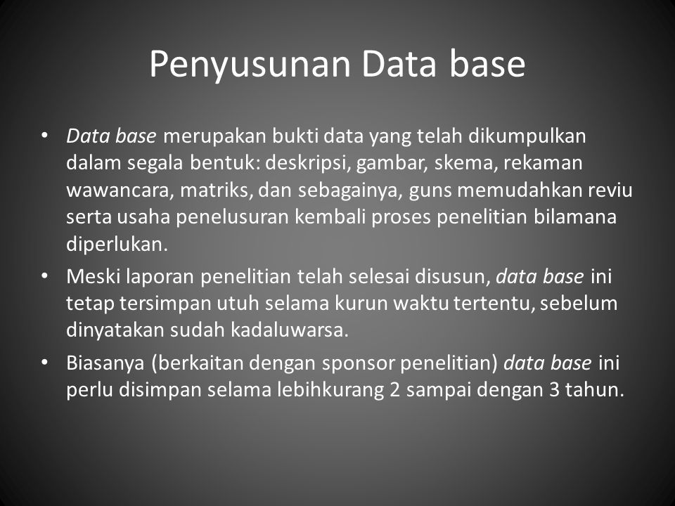 Penyusunan Data base