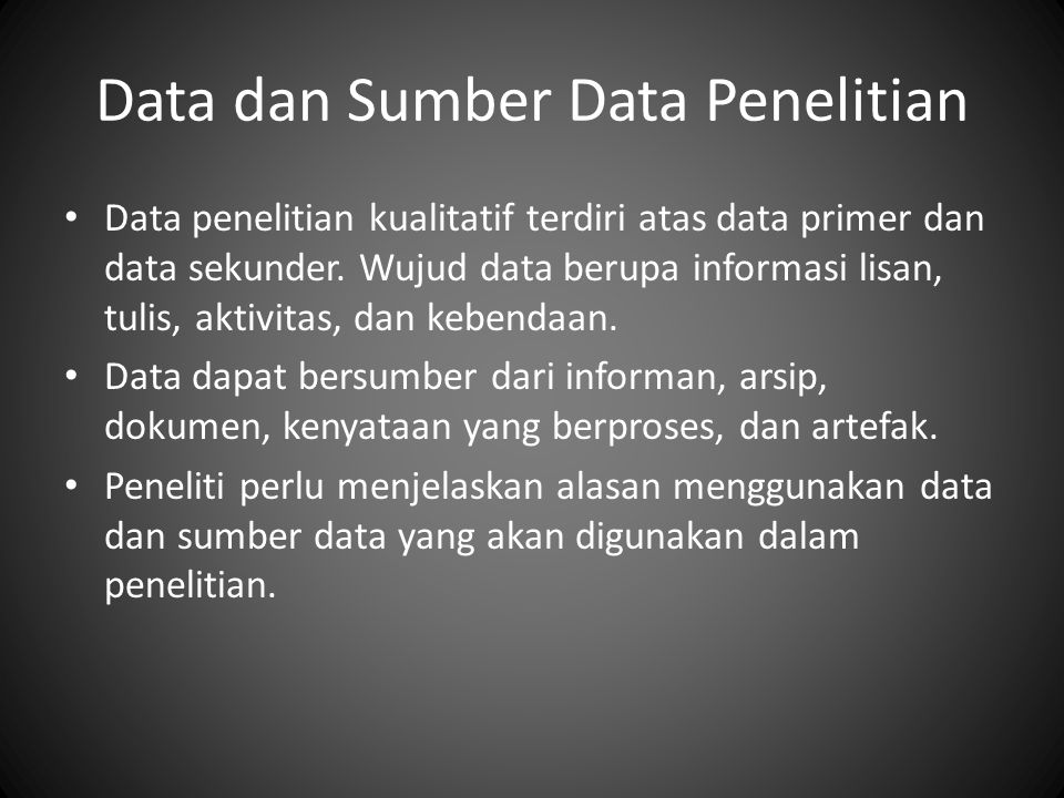 Data dan Sumber Data Penelitian