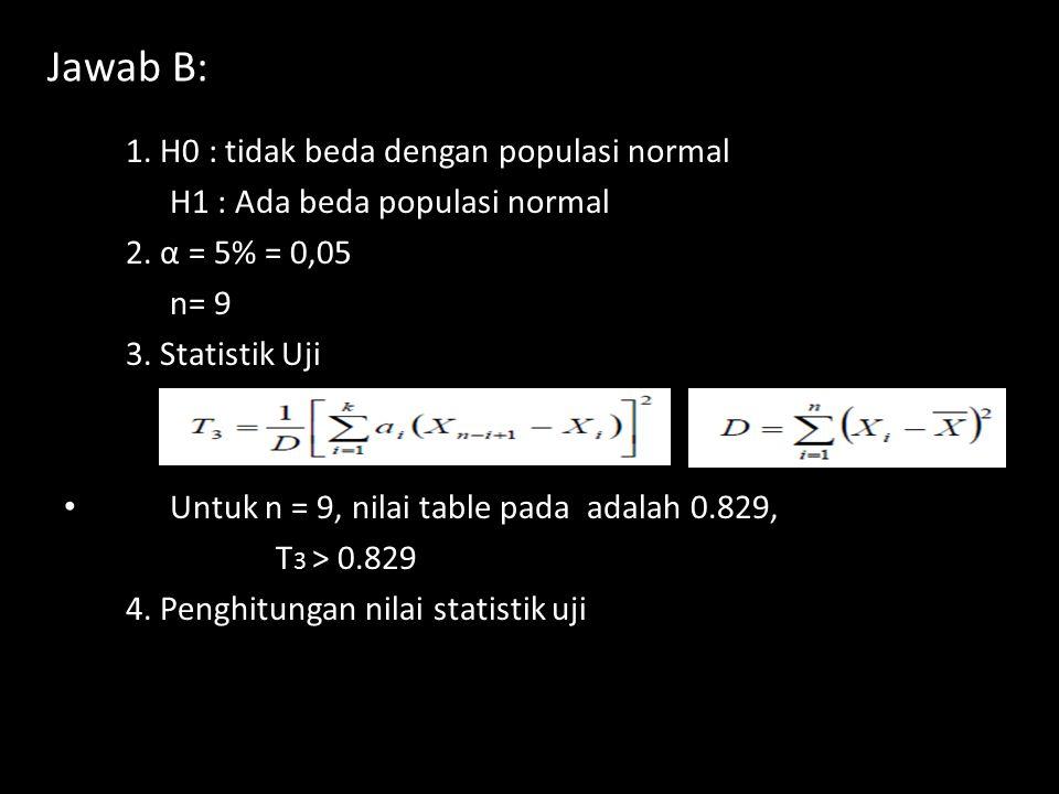 Jawab B: 1. H0 : tidak beda dengan populasi normal