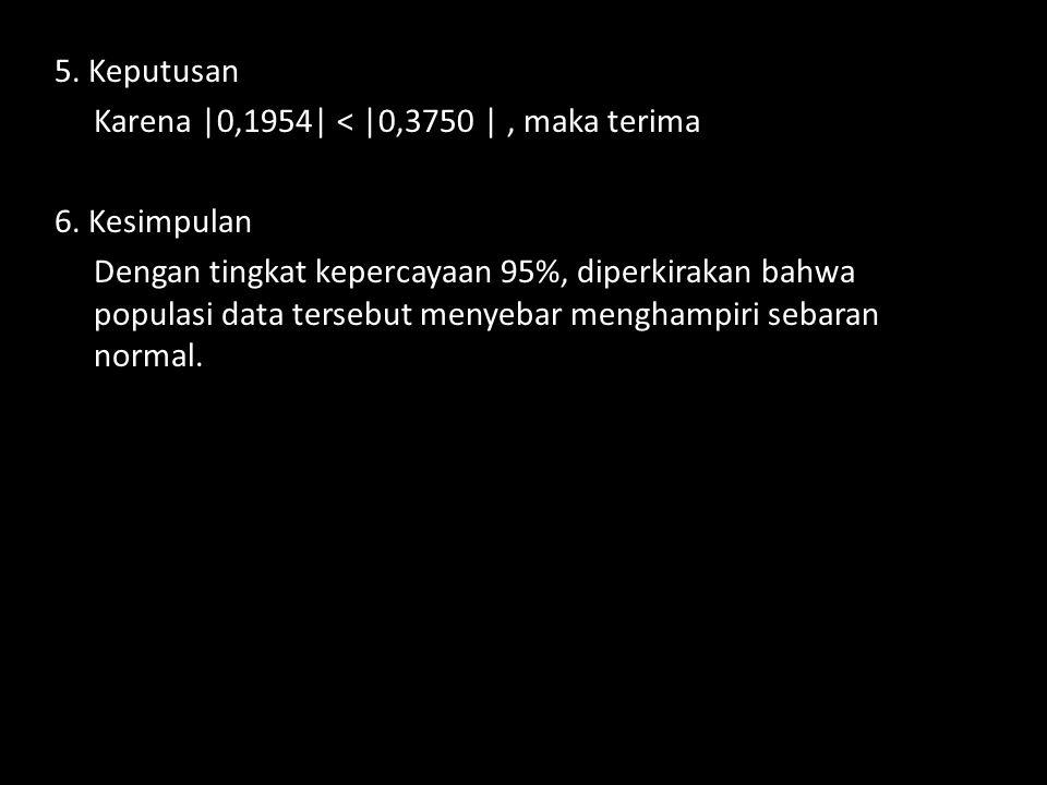 5. Keputusan Karena |0,1954| < |0,3750 | , maka terima. 6. Kesimpulan.