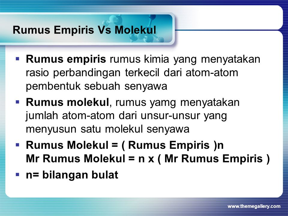 Rumus Empiris Vs Molekul