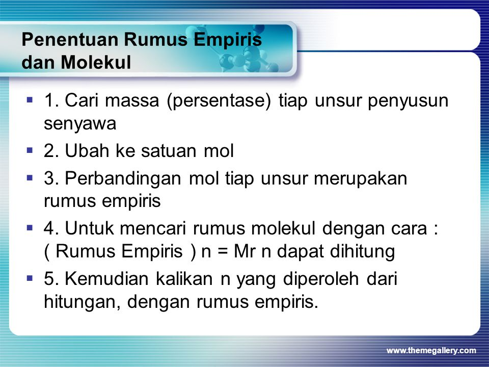 Penentuan Rumus Empiris dan Molekul