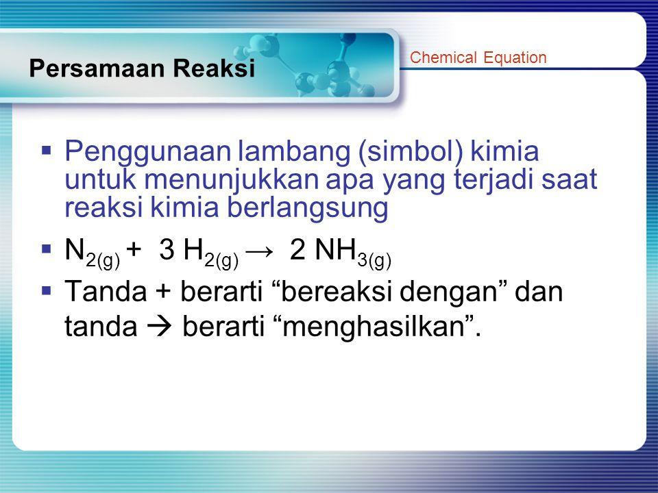 Tanda + berarti bereaksi dengan dan tanda  berarti menghasilkan .