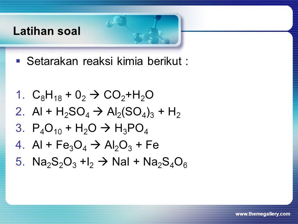 Setarakan reaksi kimia berikut : C8H18 + 02  CO2+H2O