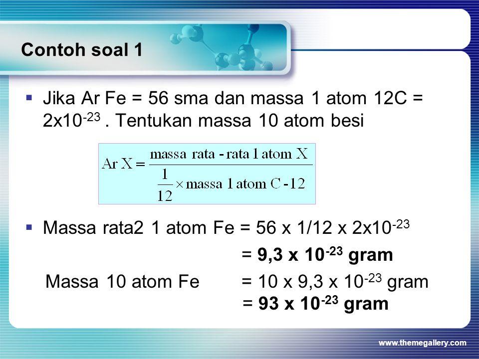 Massa rata2 1 atom Fe = 56 x 1/12 x 2x10-23 = 9,3 x 10-23 gram