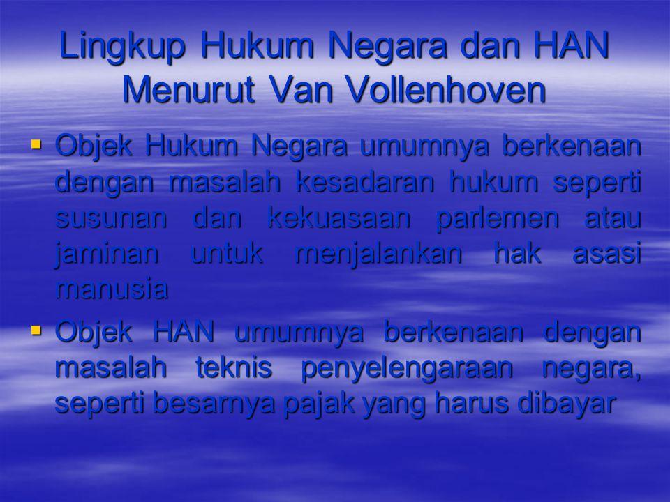 Lingkup Hukum Negara dan HAN Menurut Van Vollenhoven