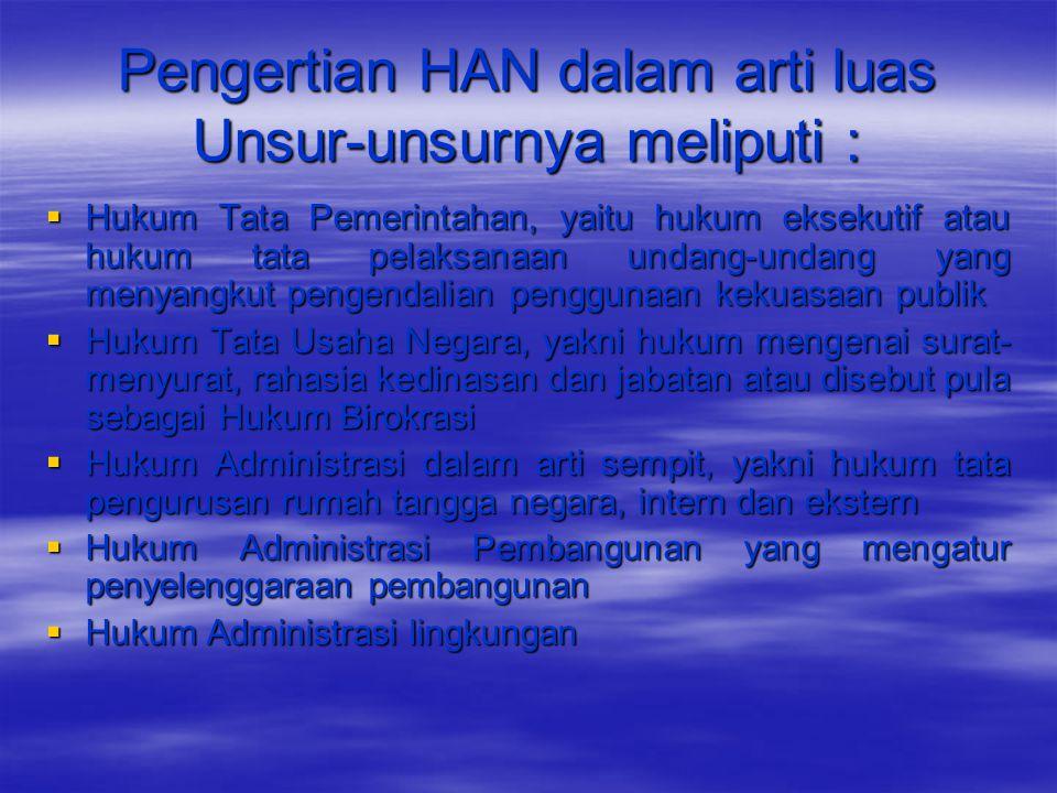 Pengertian HAN dalam arti luas Unsur-unsurnya meliputi :