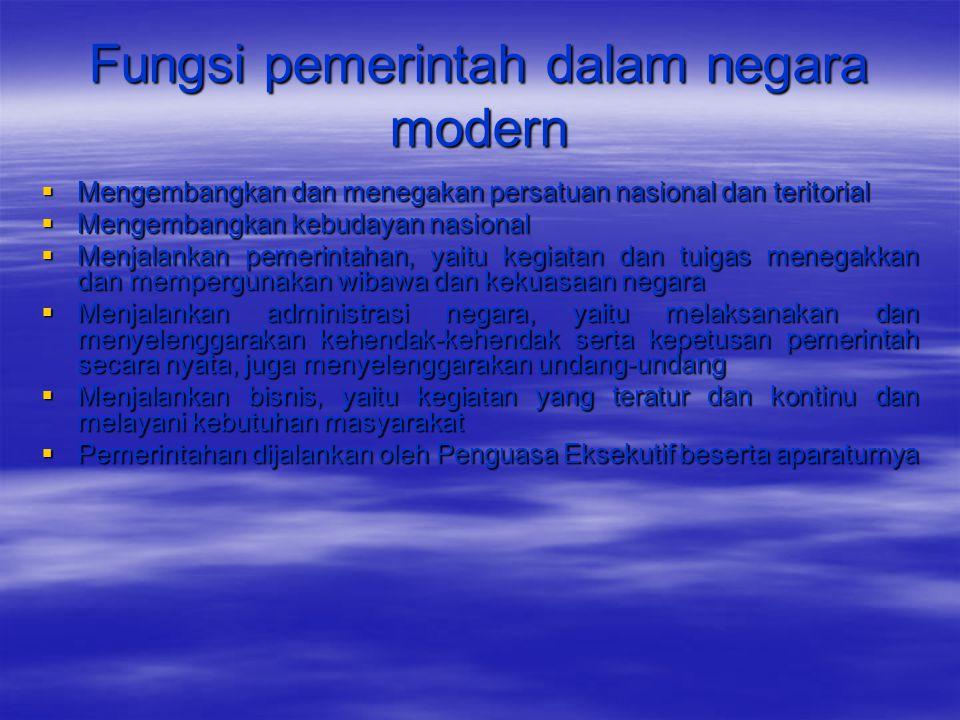 Fungsi pemerintah dalam negara modern