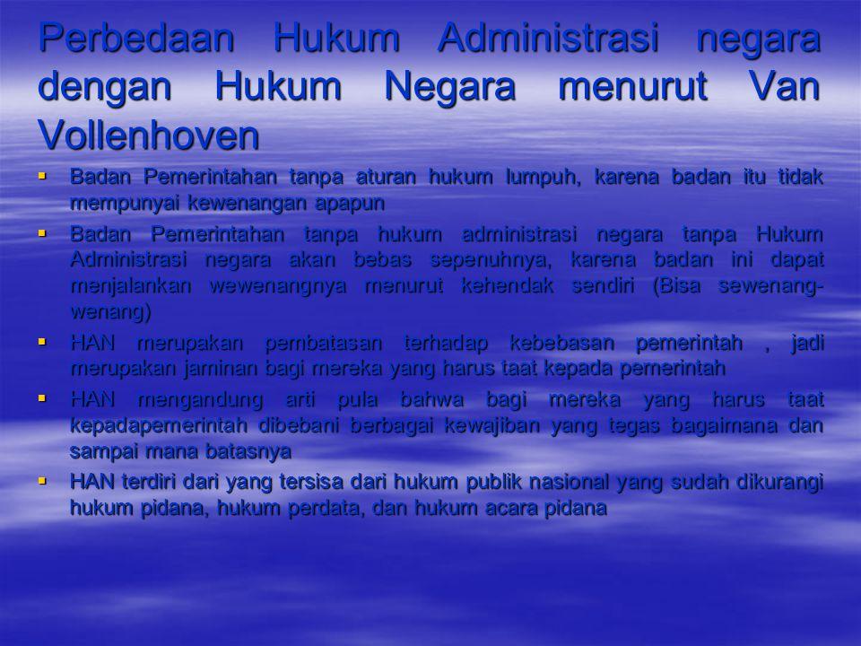 Perbedaan Hukum Administrasi negara dengan Hukum Negara menurut Van Vollenhoven