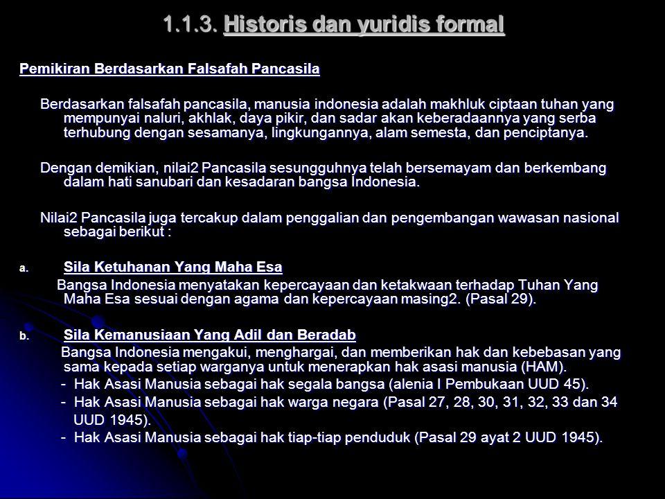 1.1.3. Historis dan yuridis formal