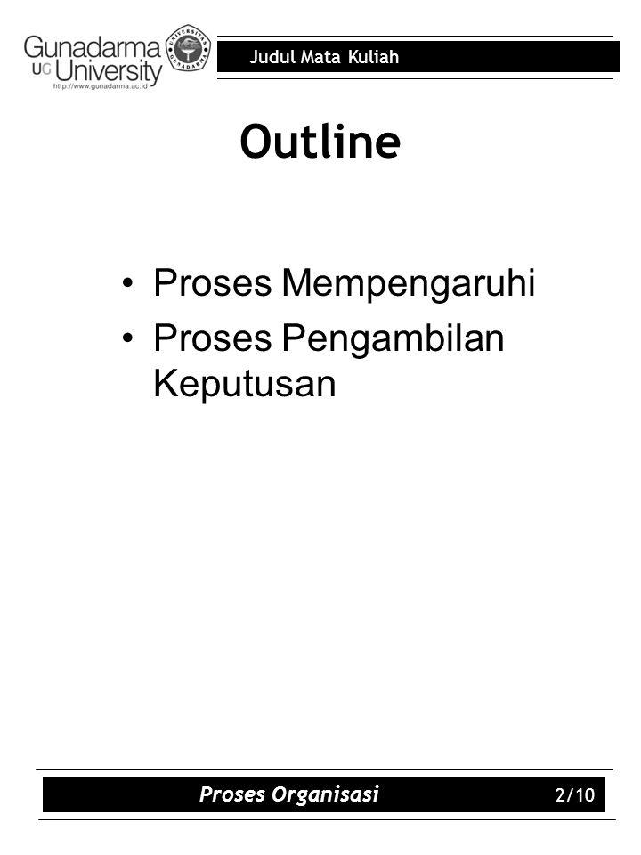 Outline Proses Mempengaruhi Proses Pengambilan Keputusan