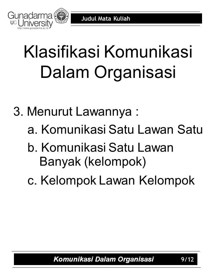 Klasifikasi Komunikasi Dalam Organisasi