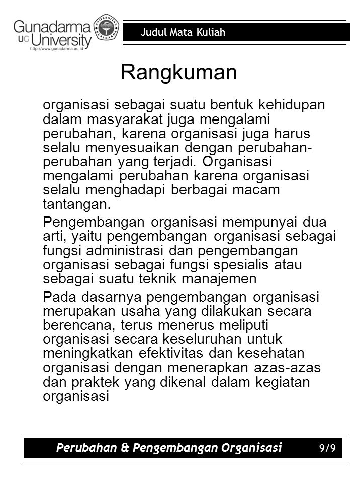 Perubahan & Pengembangan Organisasi