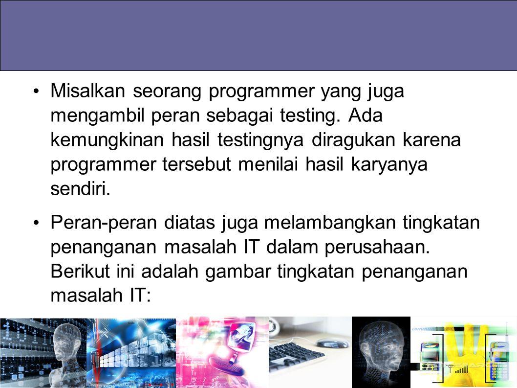 Misalkan seorang programmer yang juga mengambil peran sebagai testing