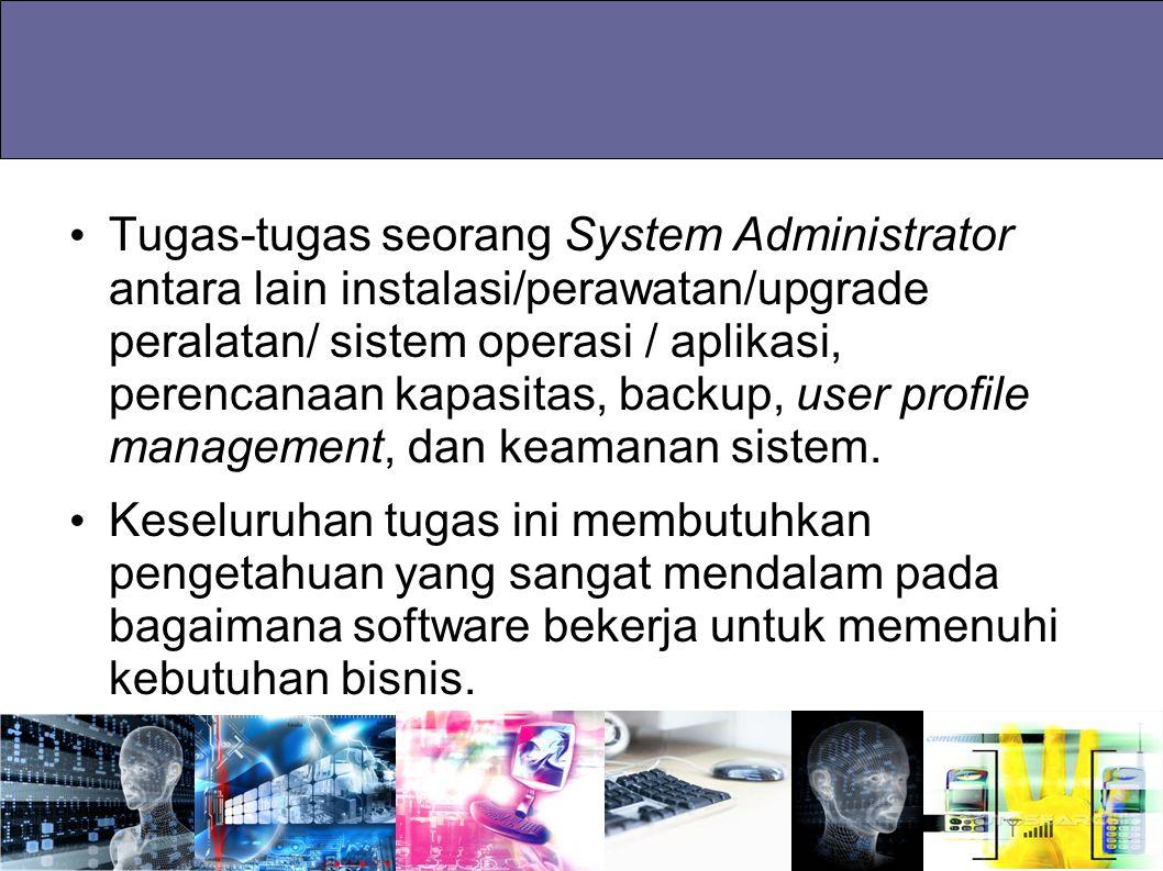 Tugas-tugas seorang System Administrator antara lain instalasi/perawatan/upgrade peralatan/ sistem operasi / aplikasi, perencanaan kapasitas, backup, user profile management, dan keamanan sistem.