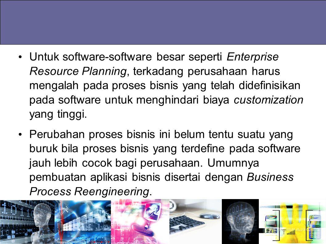 Untuk software-software besar seperti Enterprise Resource Planning, terkadang perusahaan harus mengalah pada proses bisnis yang telah didefinisikan pada software untuk menghindari biaya customization yang tinggi.
