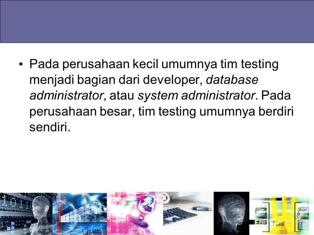 Pada perusahaan kecil umumnya tim testing menjadi bagian dari developer, database administrator, atau system administrator.