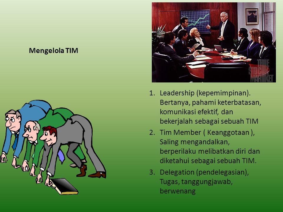 Mengelola TIM Leadership (kepemimpinan). Bertanya, pahami keterbatasan, komunikasi efektif, dan bekerjalah sebagai sebuah TIM.