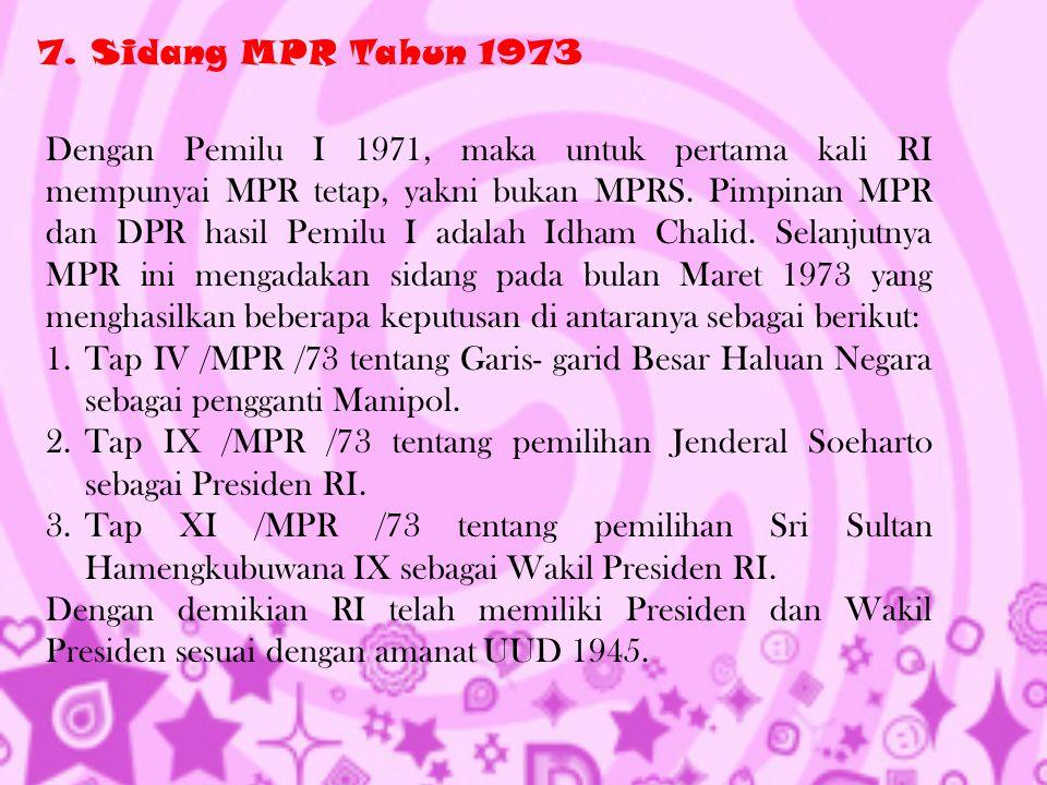 7. Sidang MPR Tahun 1973