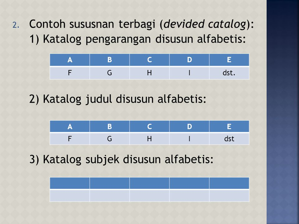 Contoh sususnan terbagi (devided catalog):