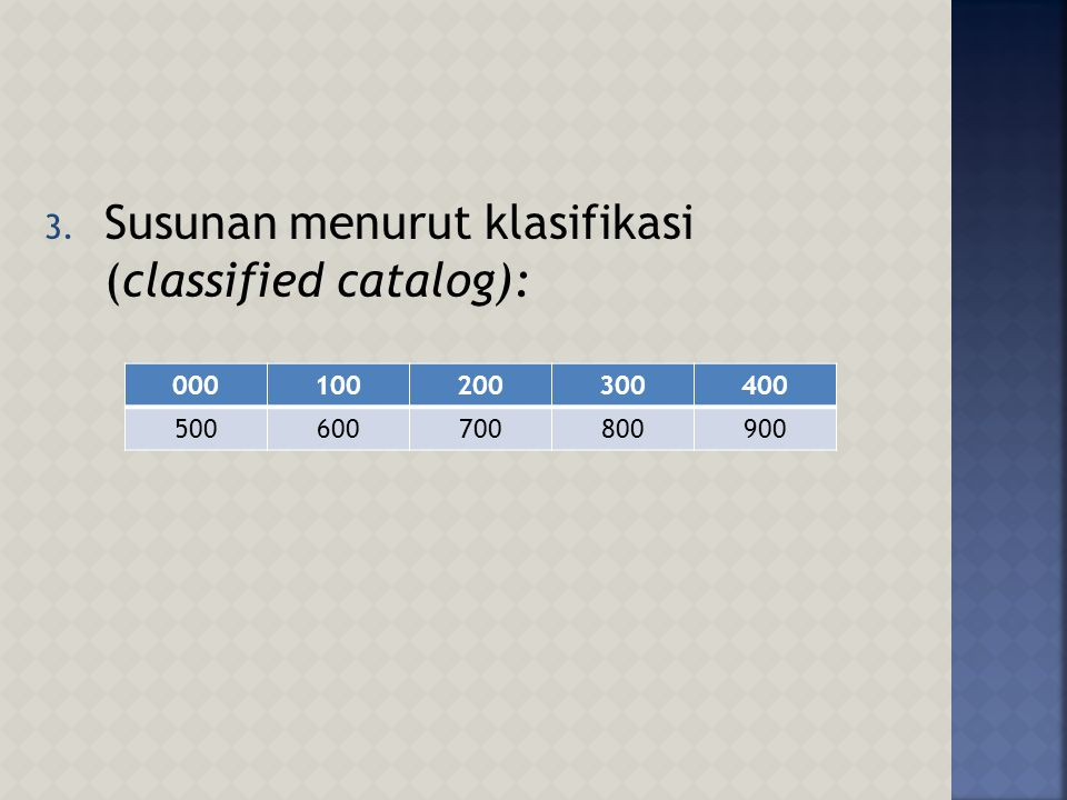 Susunan menurut klasifikasi (classified catalog):
