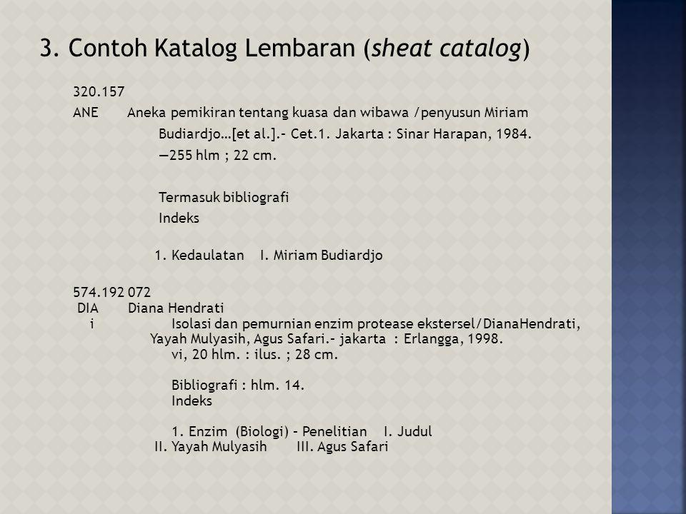 3. Contoh Katalog Lembaran (sheat catalog)