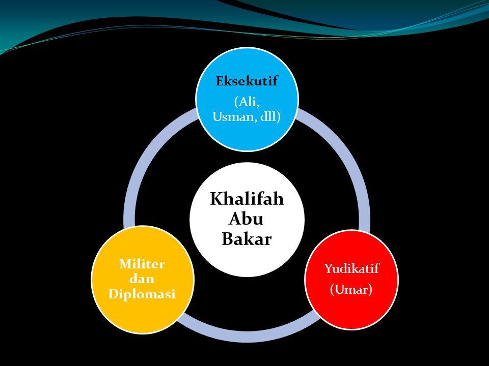 Khalifah Abu Bakar (Ali, Usman, dll) Eksekutif (Umar) Yudikatif Militer dan Diplomasi