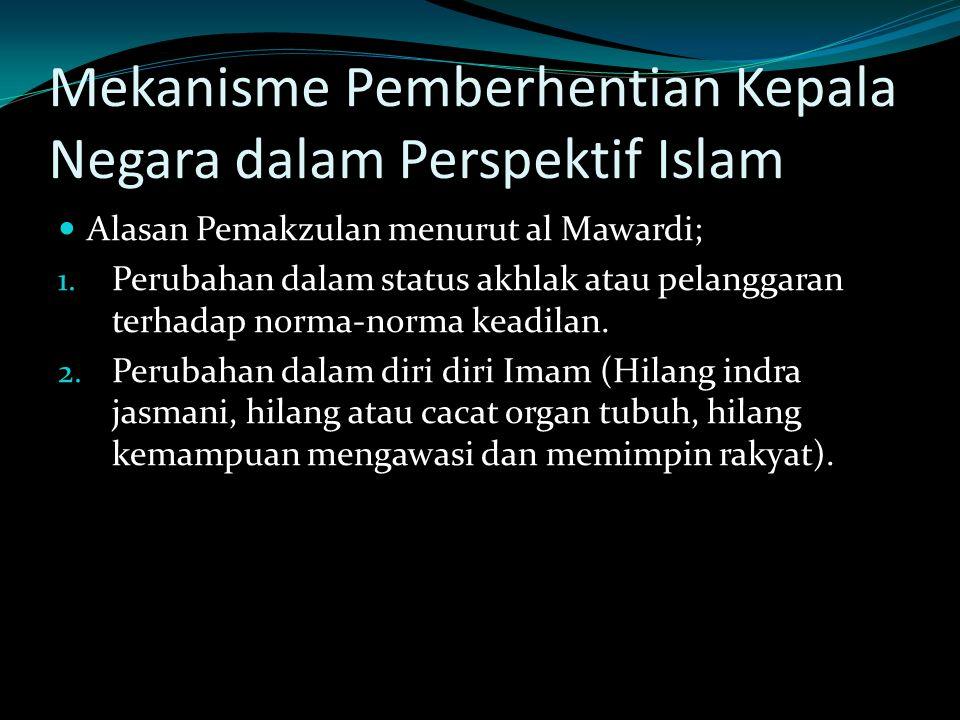 Mekanisme Pemberhentian Kepala Negara dalam Perspektif Islam