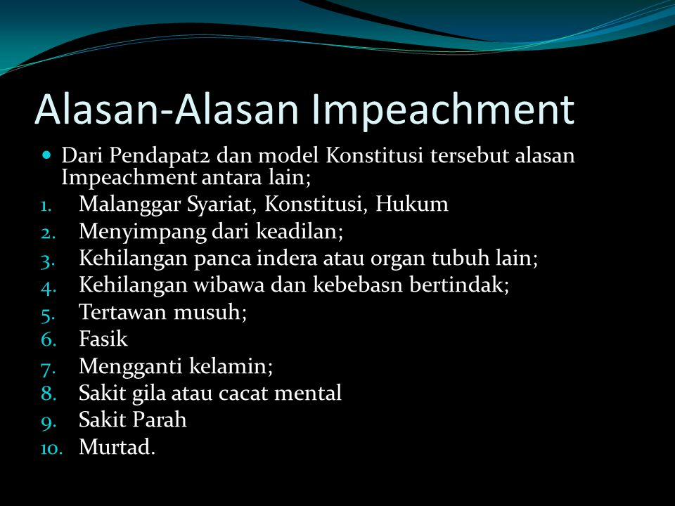 Alasan-Alasan Impeachment
