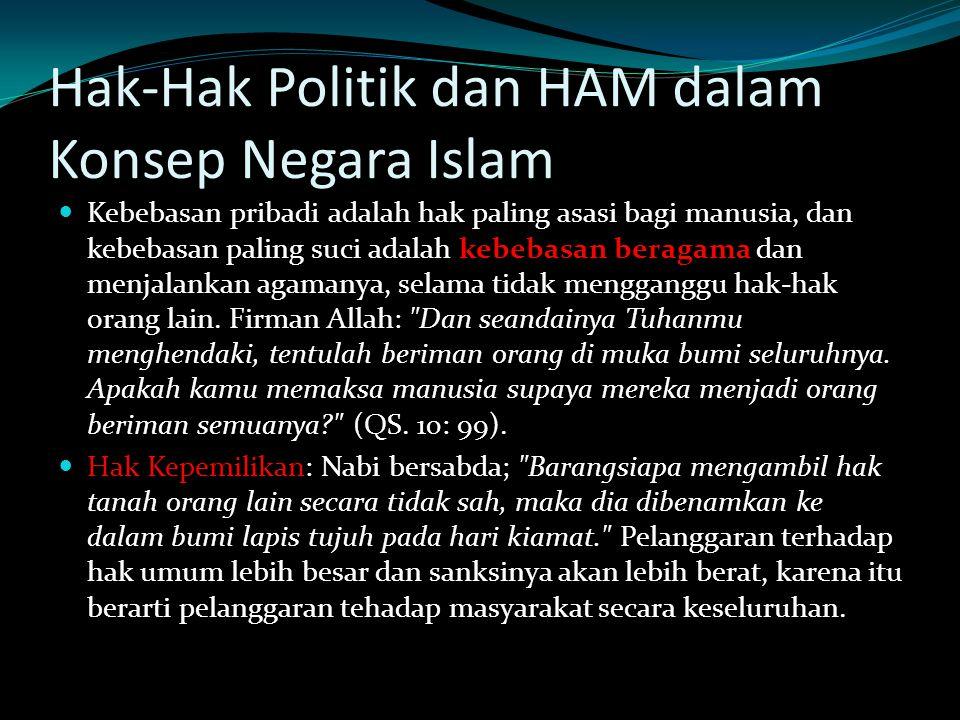 Hak-Hak Politik dan HAM dalam Konsep Negara Islam