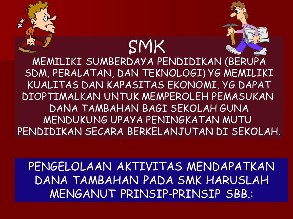 SMK MEMILIKI SUMBERDAYA PENDIDIKAN (BERUPA. SDM, PERALATAN, DAN TEKNOLOGI) YG MEMILIKI. KUALITAS DAN KAPASITAS EKONOMI, YG DAPAT.