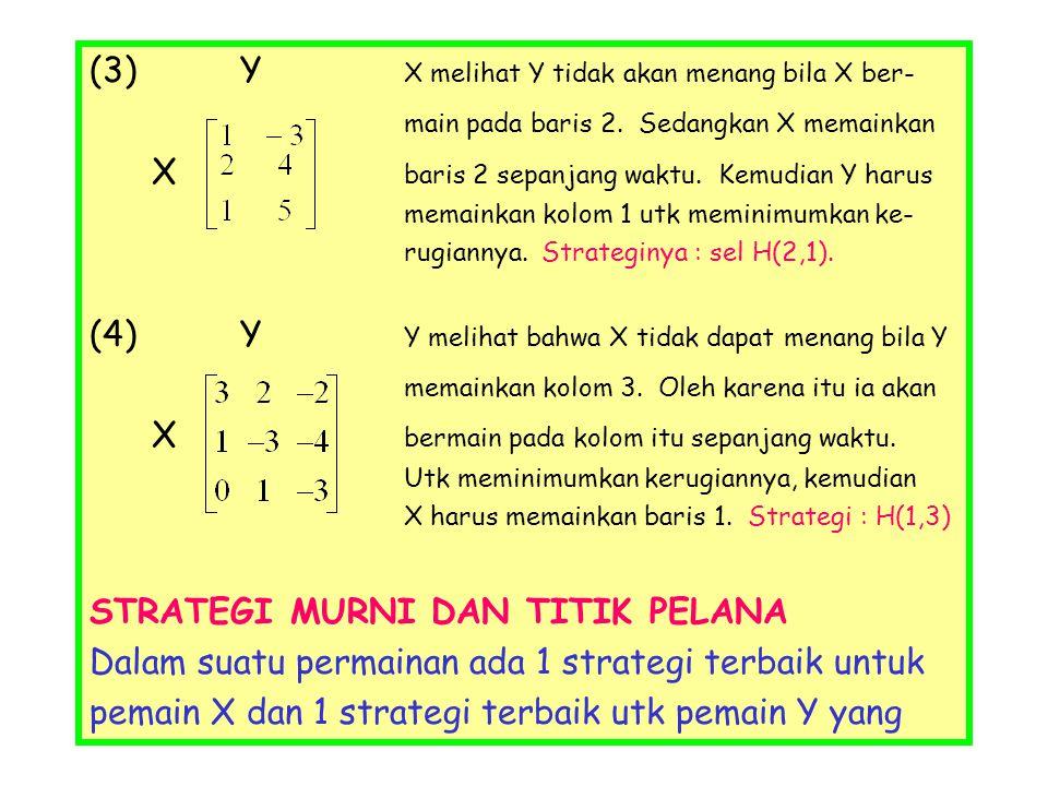 (3) Y X melihat Y tidak akan menang bila X ber-