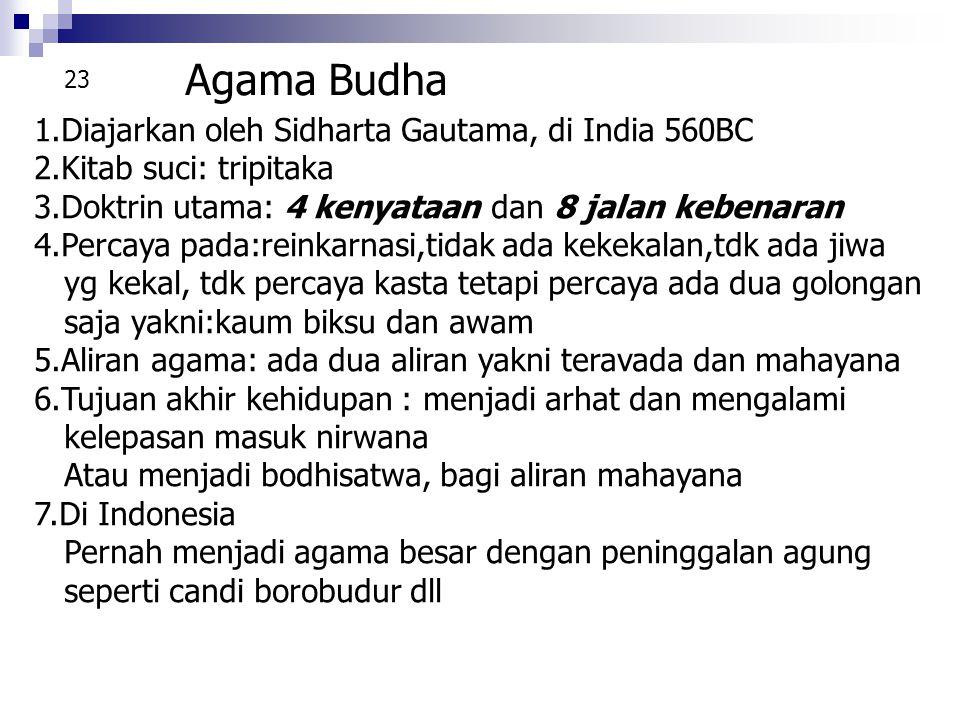 Agama Budha 1.Diajarkan oleh Sidharta Gautama, di India 560BC