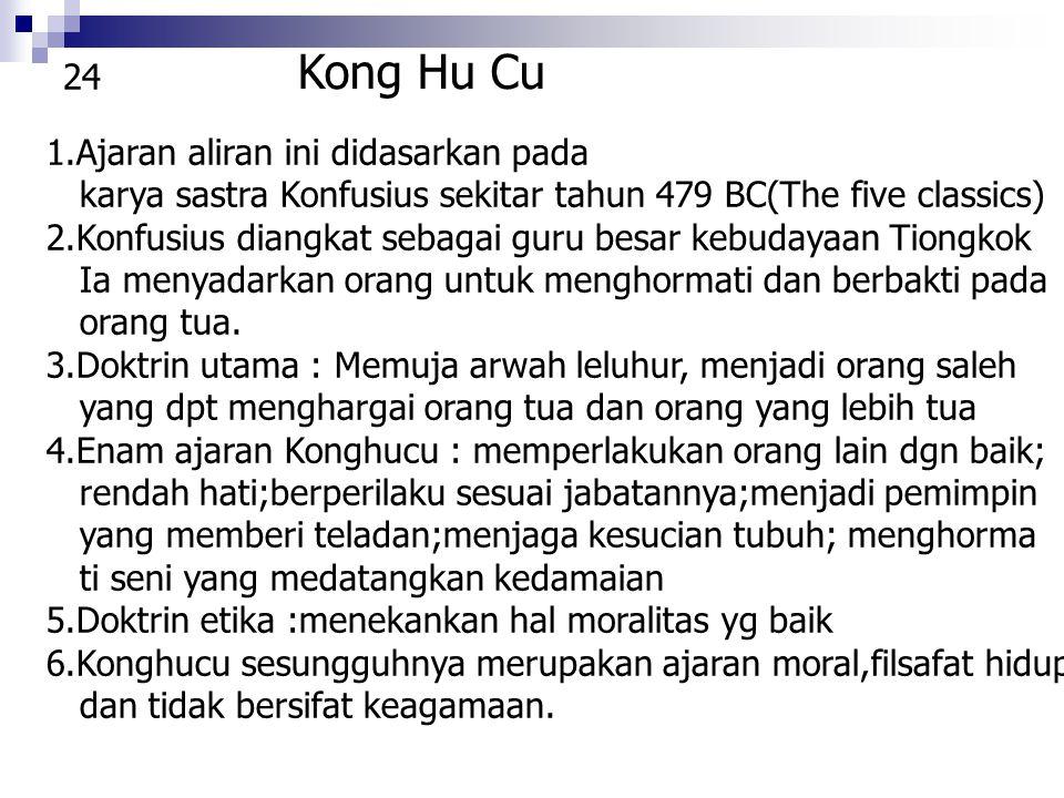 Kong Hu Cu 24 1.Ajaran aliran ini didasarkan pada