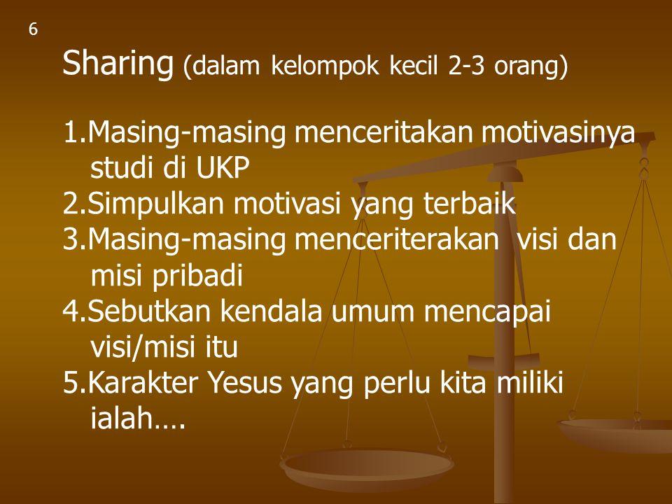 Sharing (dalam kelompok kecil 2-3 orang)