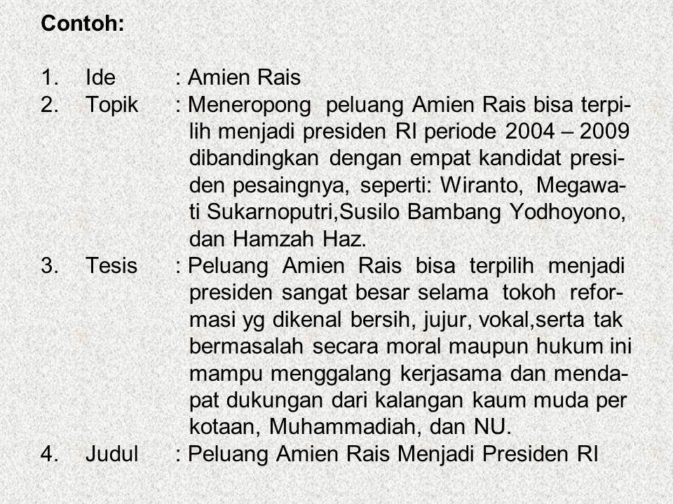 Contoh: Ide : Amien Rais. Topik : Meneropong peluang Amien Rais bisa terpi- lih menjadi presiden RI periode 2004 – 2009.