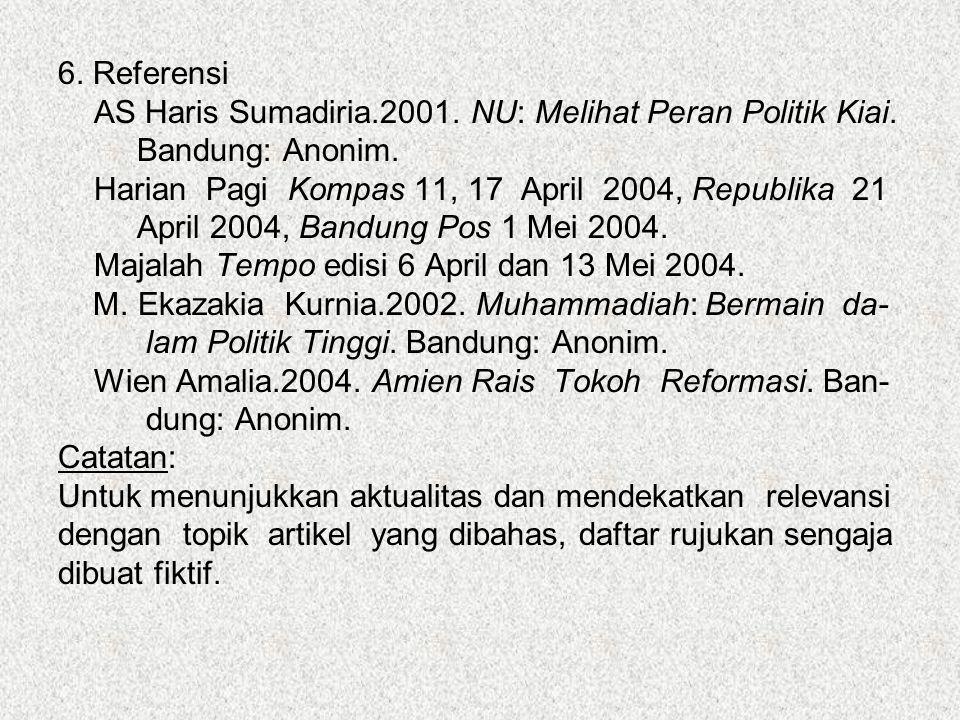 6. Referensi AS Haris Sumadiria.2001. NU: Melihat Peran Politik Kiai. Bandung: Anonim. Harian Pagi Kompas 11, 17 April 2004, Republika 21.