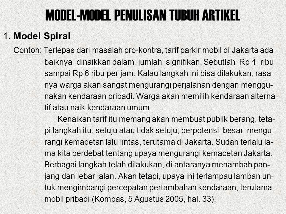 MODEL-MODEL PENULISAN TUBUH ARTIKEL