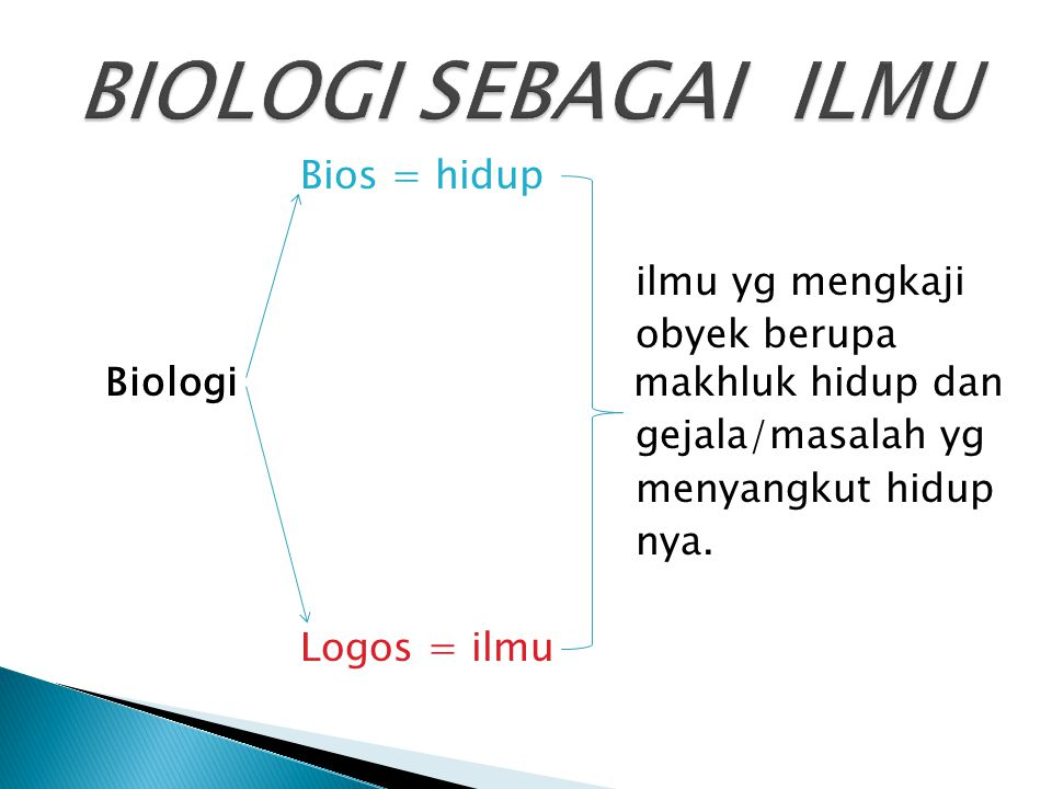 BIOLOGI SEBAGAI ILMU Bios = hidup ilmu yg mengkaji obyek berupa Biologi makhluk hidup dan gejala/masalah yg menyangkut hidup nya.
