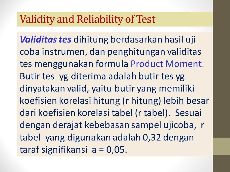 Validity and Reliability of Test