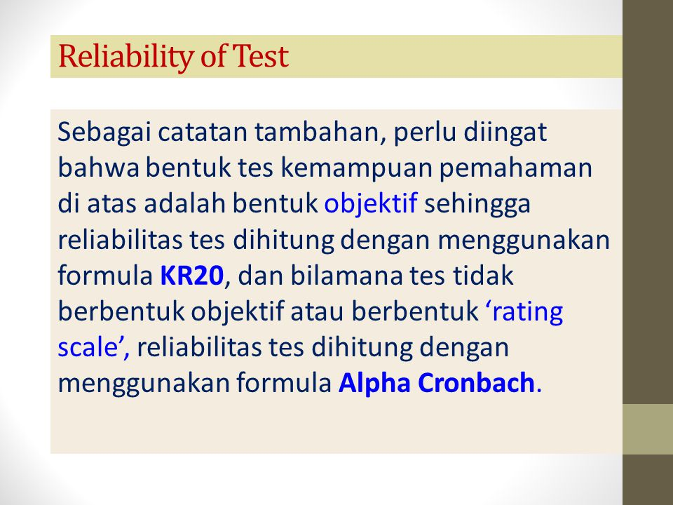 Reliability of Test