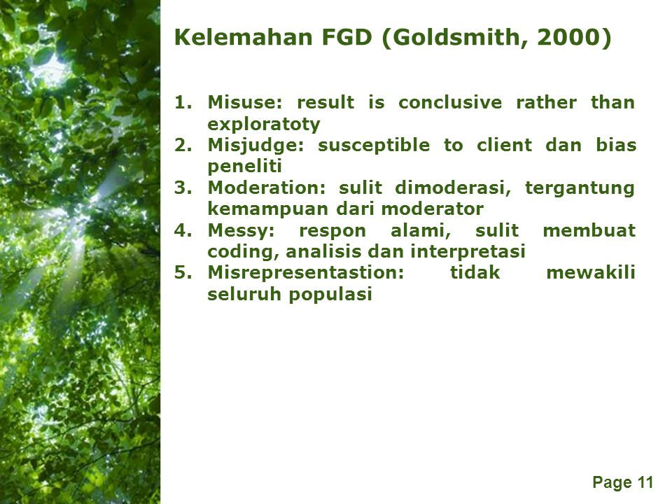 Kelemahan FGD (Goldsmith, 2000)
