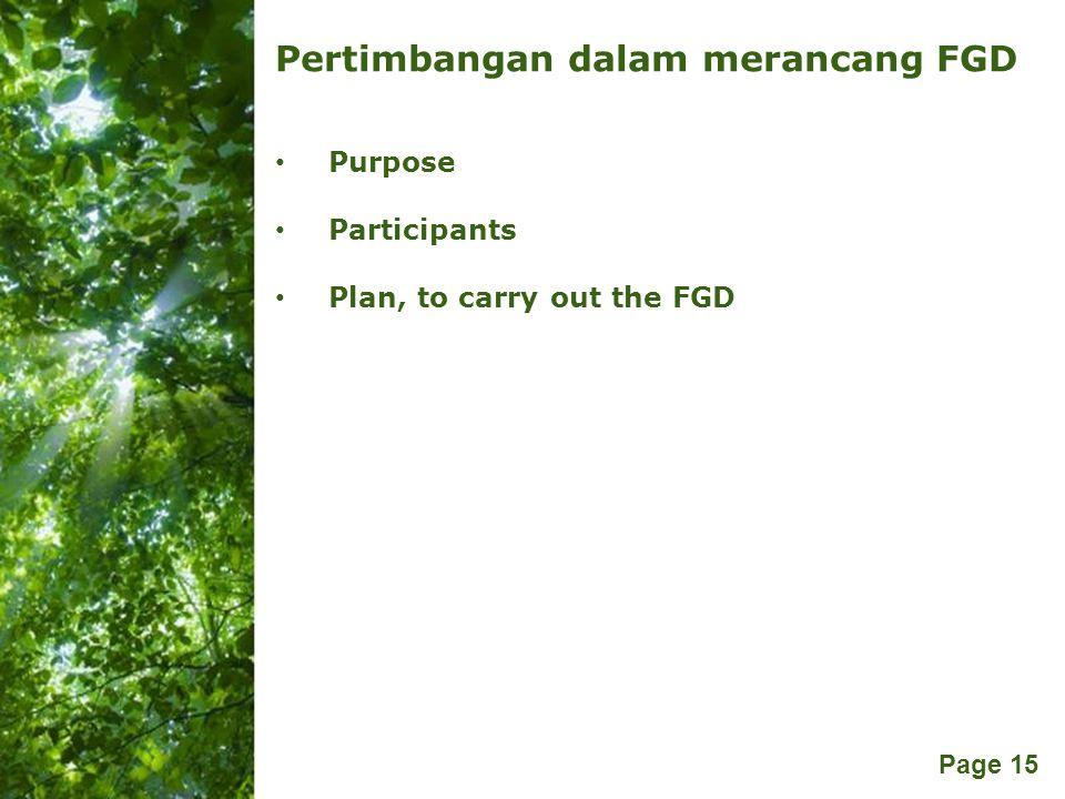 Pertimbangan dalam merancang FGD