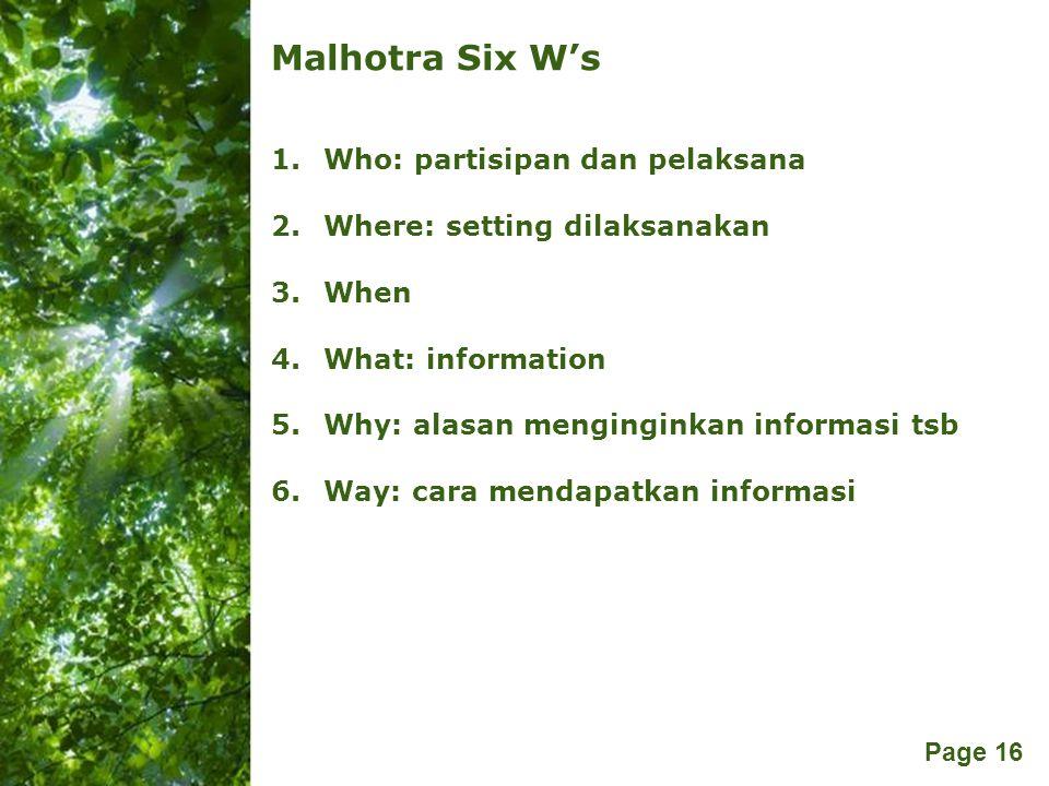 Malhotra Six W's Who: partisipan dan pelaksana