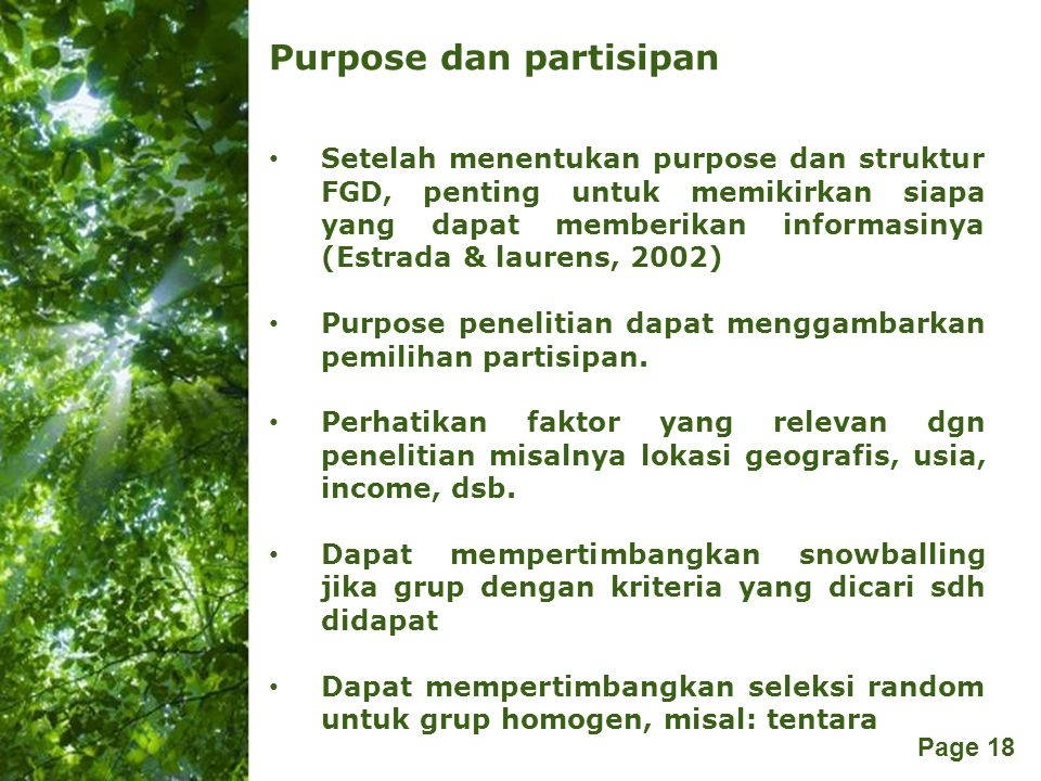 Purpose dan partisipan