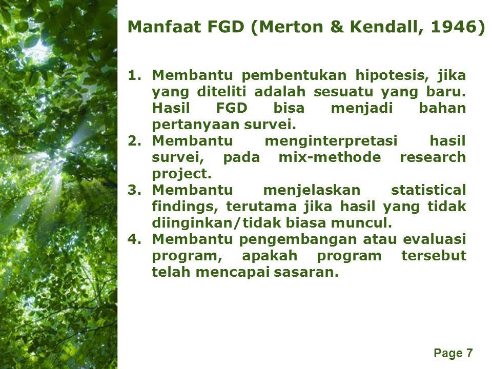 Manfaat FGD (Merton & Kendall, 1946)