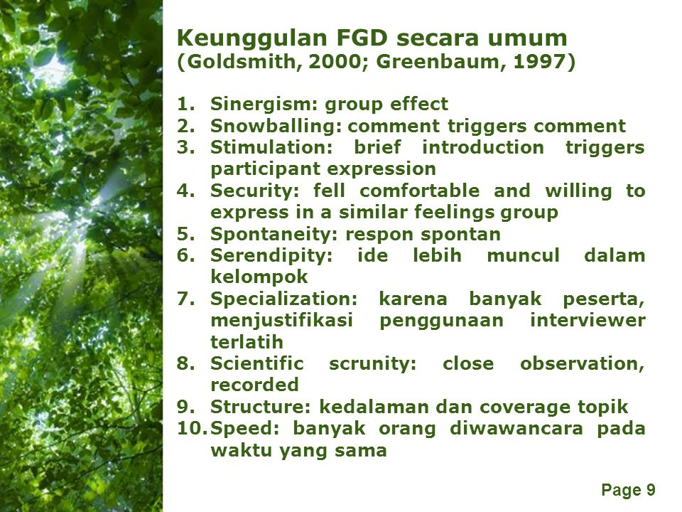 Keunggulan FGD secara umum