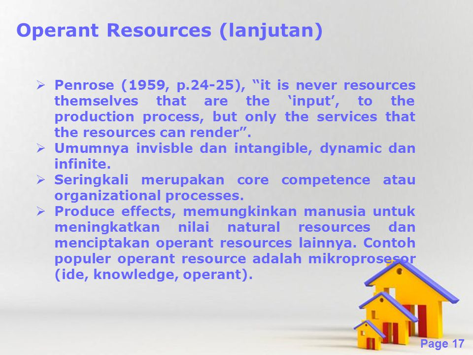 Operant Resources (lanjutan)