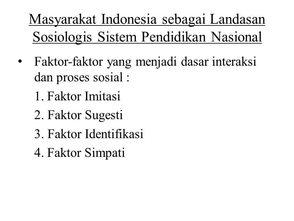 Masyarakat Indonesia sebagai Landasan Sosiologis Sistem Pendidikan Nasional