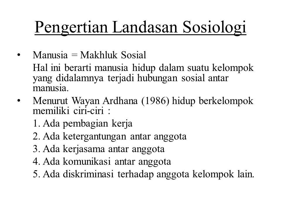 Pengertian Landasan Sosiologi